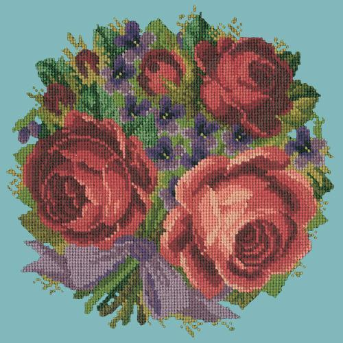 Violets and Roses Needlepoint Kit Elizabeth Bradley Design Duck Egg Blue