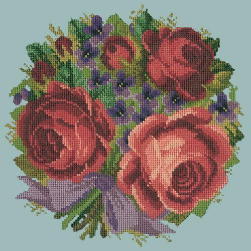 Violets and Roses Needlepoint Kit Elizabeth Bradley Design Pale Blue