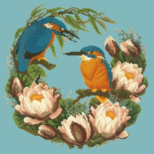 Water Lilies Needlepoint Kit Elizabeth Bradley Design Duck Egg Blue