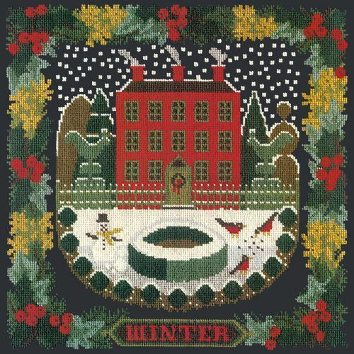 Winter Sampler Needlepoint Kit Elizabeth Bradley Design Black