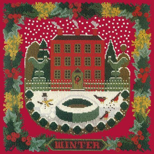 Winter Sampler Needlepoint Kit Elizabeth Bradley Design Bright Red