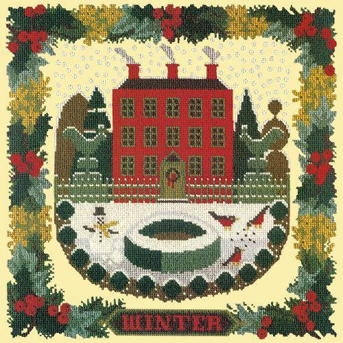 Winter Sampler Needlepoint Kit Elizabeth Bradley Design Butter Yellow