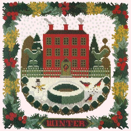 Winter Sampler Needlepoint Kit Elizabeth Bradley Design Cream