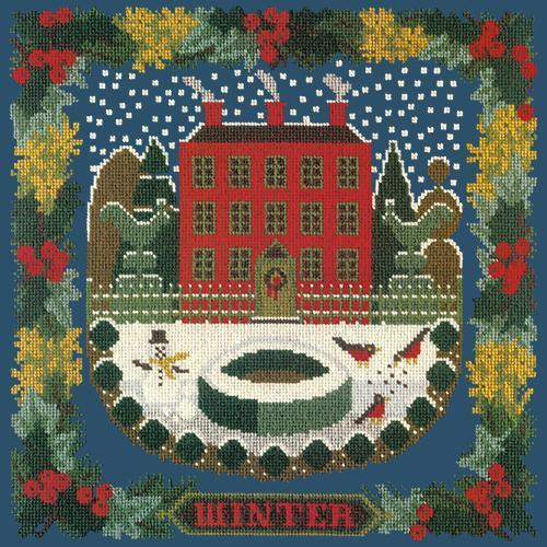 Winter Sampler Needlepoint Kit Elizabeth Bradley Design Dark Blue
