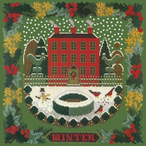 Winter Sampler Needlepoint Kit Elizabeth Bradley Design Dark Green