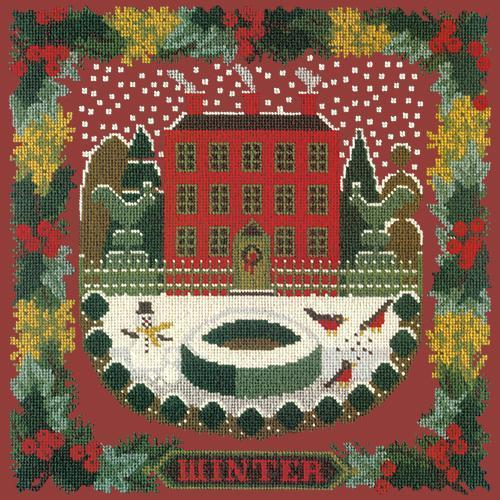 Winter Sampler Needlepoint Kit Elizabeth Bradley Design Dark Red