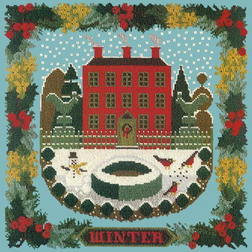 Winter Sampler Needlepoint Kit Elizabeth Bradley Design Duck Egg Blue