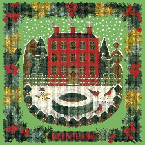 Winter Sampler Needlepoint Kit Elizabeth Bradley Design Grass Green