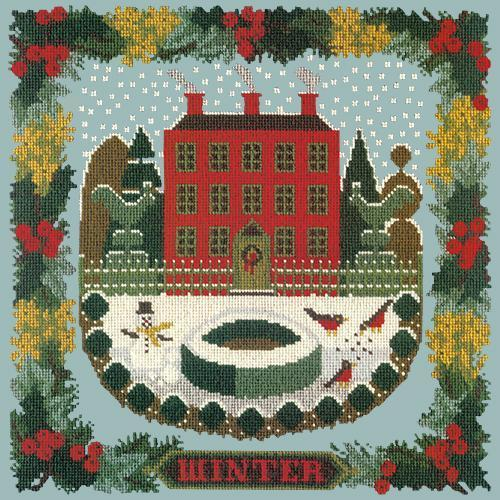 Winter Sampler Needlepoint Kit Elizabeth Bradley Design Pale Blue
