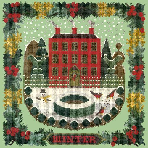 Winter Sampler Needlepoint Kit Elizabeth Bradley Design Pale Green