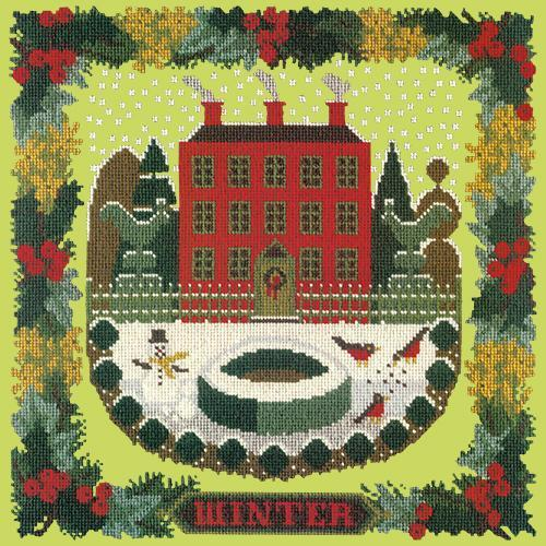 Winter Sampler Needlepoint Kit Elizabeth Bradley Design Pale Lime