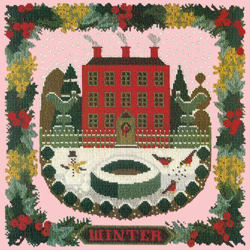 Winter Sampler Needlepoint Kit Elizabeth Bradley Design Pale Rose