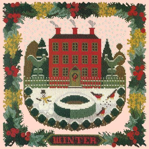 Winter Sampler Needlepoint Kit Elizabeth Bradley Design Salmon Pink