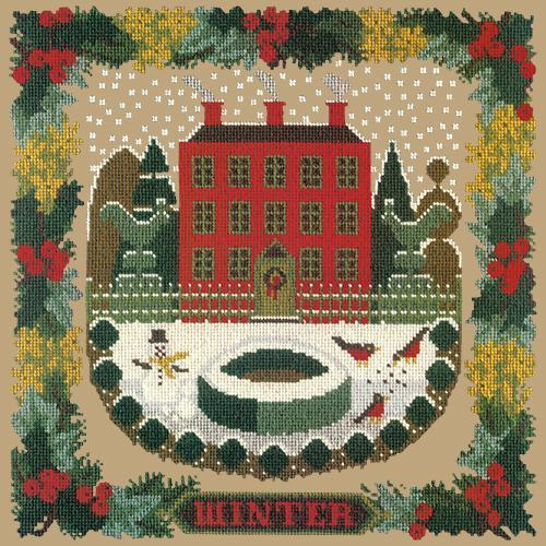 Winter Sampler Needlepoint Kit Elizabeth Bradley Design Sand