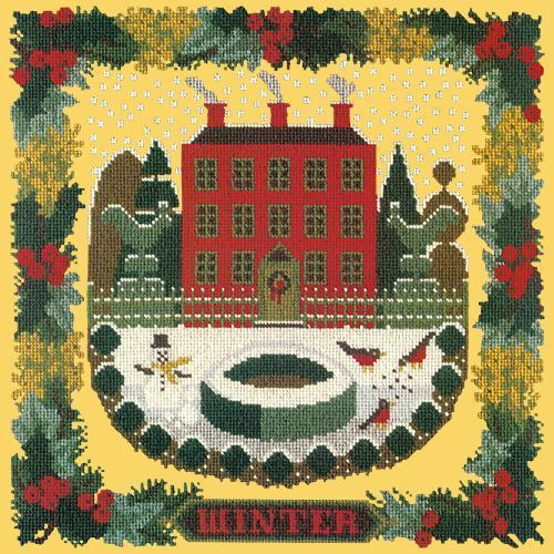 Winter Sampler Needlepoint Kit Elizabeth Bradley Design Sunflower Yellow