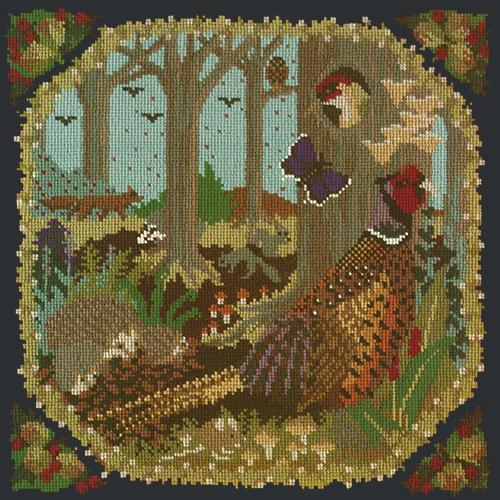 Woodland Needlepoint Kit Elizabeth Bradley Design Black