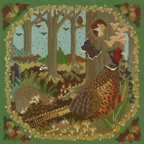 Woodland Needlepoint Kit Elizabeth Bradley Design Dark Green