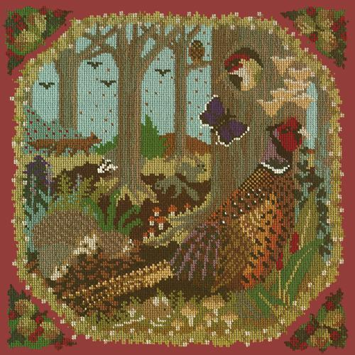 Woodland Needlepoint Kit Elizabeth Bradley Design Dark Red