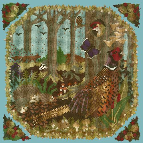 Woodland Needlepoint Kit Elizabeth Bradley Design Duck Egg Blue