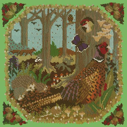 Woodland Needlepoint Kit Elizabeth Bradley Design Grass Green