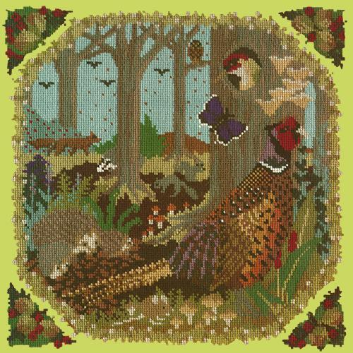 Woodland Needlepoint Kit Elizabeth Bradley Design Pale Lime