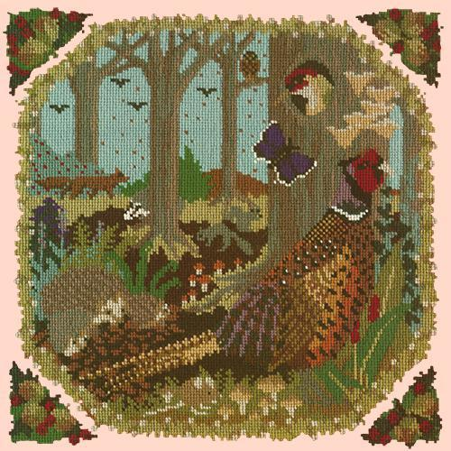Woodland Needlepoint Kit Elizabeth Bradley Design Salmon Pink