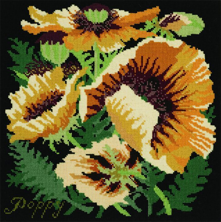 Yellow Poppy Needlepoint Kit Elizabeth Bradley Design Black