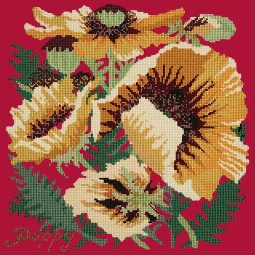 Yellow Poppy Needlepoint Kit Elizabeth Bradley Design Bright Red