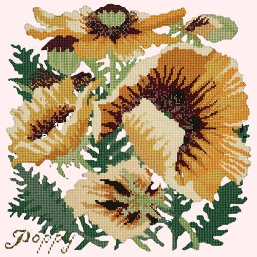 Yellow Poppy Needlepoint Kit Elizabeth Bradley Design Cream