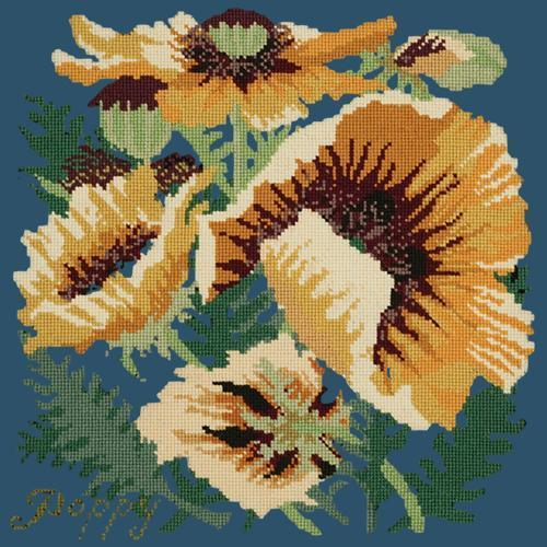 Yellow Poppy Needlepoint Kit Elizabeth Bradley Design Dark Blue