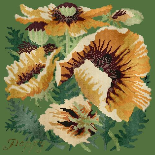 Yellow Poppy Needlepoint Kit Elizabeth Bradley Design Dark Green