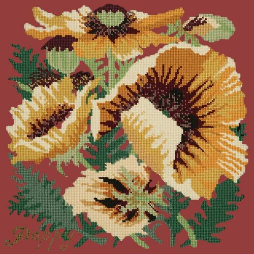 Yellow Poppy Needlepoint Kit Elizabeth Bradley Design Dark Red
