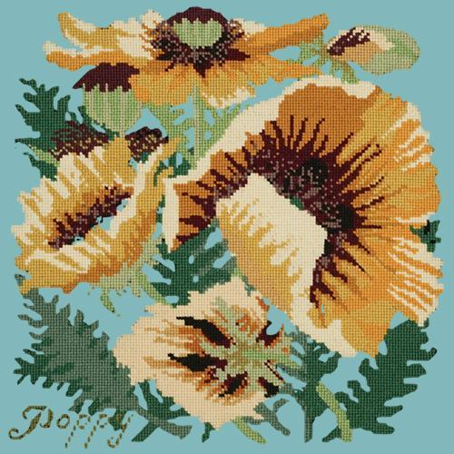 Yellow Poppy Needlepoint Kit Elizabeth Bradley Design Duck Egg Blue