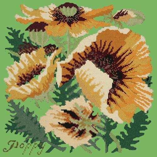 Yellow Poppy Needlepoint Kit Elizabeth Bradley Design Grass Green