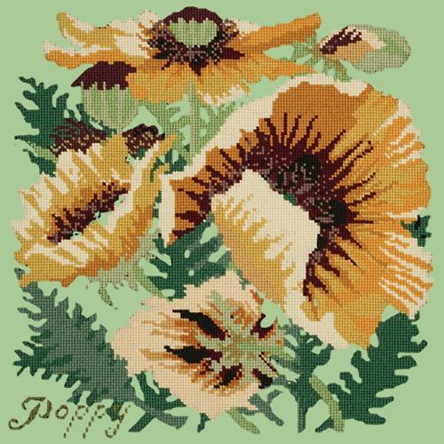 Yellow Poppy Needlepoint Kit Elizabeth Bradley Design Pale Green