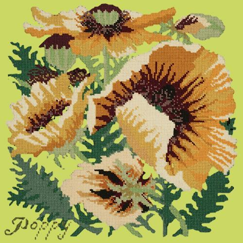 Yellow Poppy Needlepoint Kit Elizabeth Bradley Design Pale Lime