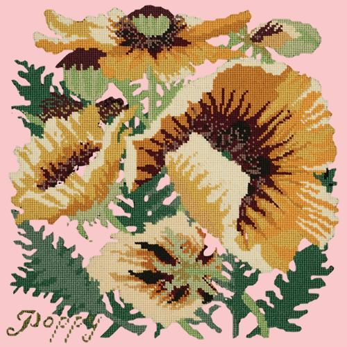 Yellow Poppy Needlepoint Kit Elizabeth Bradley Design Pale Rose