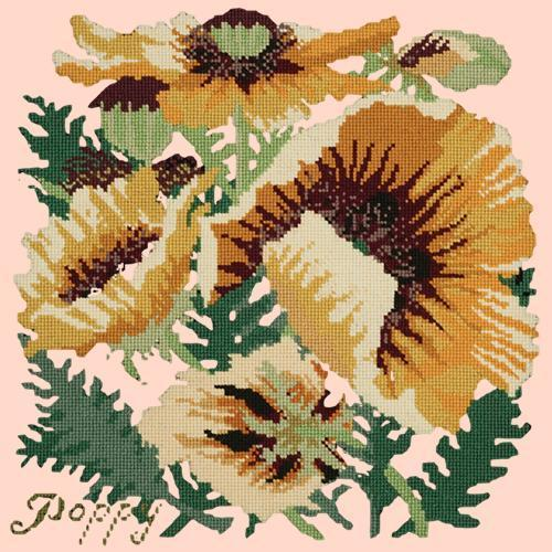 Yellow Poppy Needlepoint Kit Elizabeth Bradley Design Salmon Pink