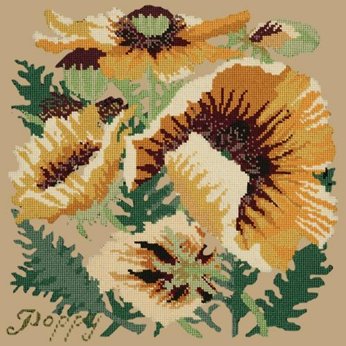 Yellow Poppy Needlepoint Kit Elizabeth Bradley Design Sand