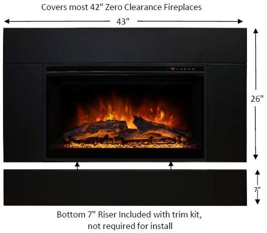 "Modern Flames ZCR Series 43"" Built In Electric Firebox Insert - ExceptionalFire"