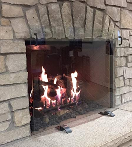 Single Panel Glass Fireplace Screen - Custom Size - ExceptionalFire