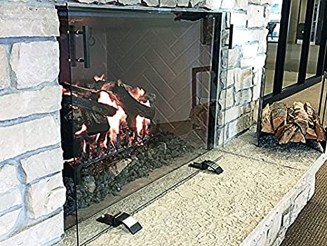 "Order #1177 / SIZE GLASS SCREEN: 44"" W x 32"" / Powder Coat - Rustic Black - ExceptionalFire"