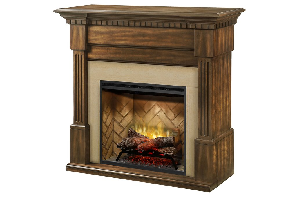 Dimplex Christina® Fireplace Mantel Package in Burnished Walnut Finish BM3033-1801BW - ExceptionalFire