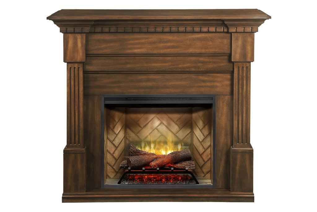 Dimplex Christina® Fireplace Mantel Package in Burnished Walnut Finish GDS30RBF-1801BW - ExceptionalFire
