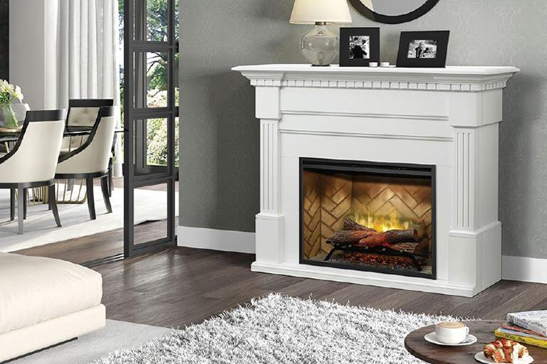 Dimplex Christina® Fireplace Mantel Package in White Finish GDS30RBF-1801W - ExceptionalFire