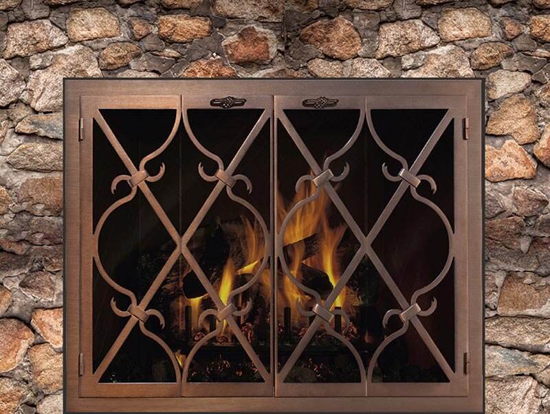 Steel Fireplace Glass Door Masonry & Zero Clearance - Banded Scroll - ExceptionalFire