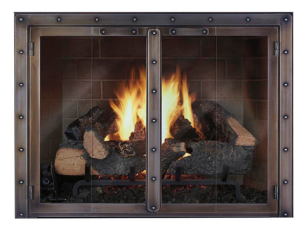 Steel Fireplace Glass Door Masonry & Zero Clearance - Black Rock