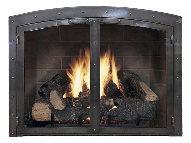 Steel Fireplace Glass Door Masonry - Black Rock Arch - ExceptionalFire