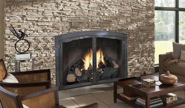 Steel Fireplace Glass Door Masonry - Black Rock Arch