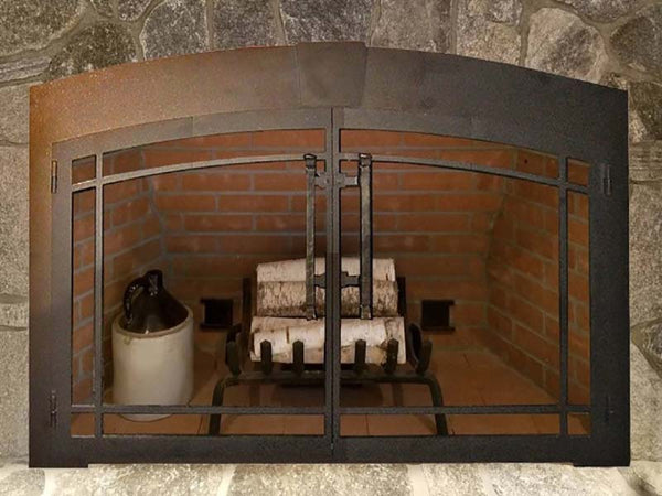 Steel Fireplace Glass Door Masonry - Buckingham Arch - ExceptionalFire